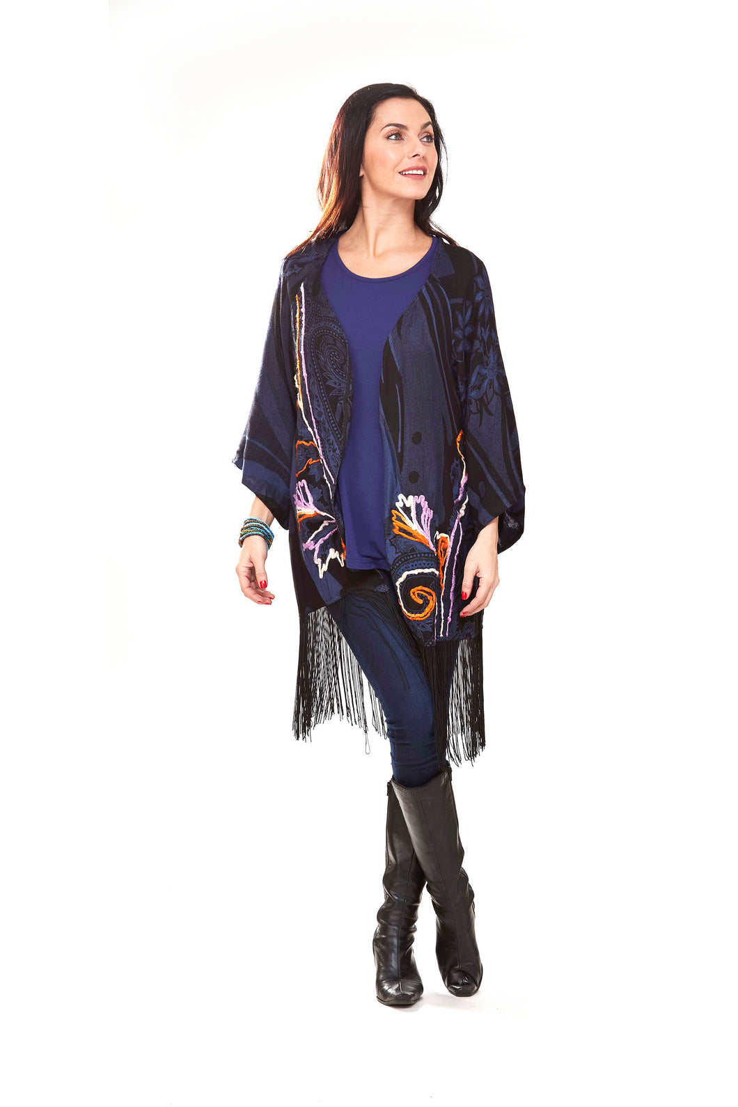 Violet Fringes & Embroidered Cover-Up
