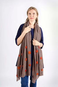 Orange Poppy Cashmere Scarf