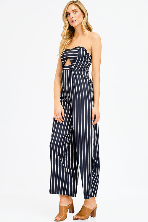 2ea6db9427a4 BLACK STRIPED SWEETHEART NECK CUT OUT WIDE LEG EVENING JUMPSUIT - BlueShak  Shop
