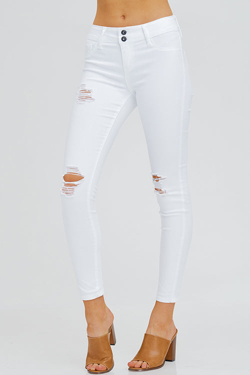 WHITE DENIM MID RISE DISTRESSED FRAYED DOUBLE BUTTON SKINNY JEANS