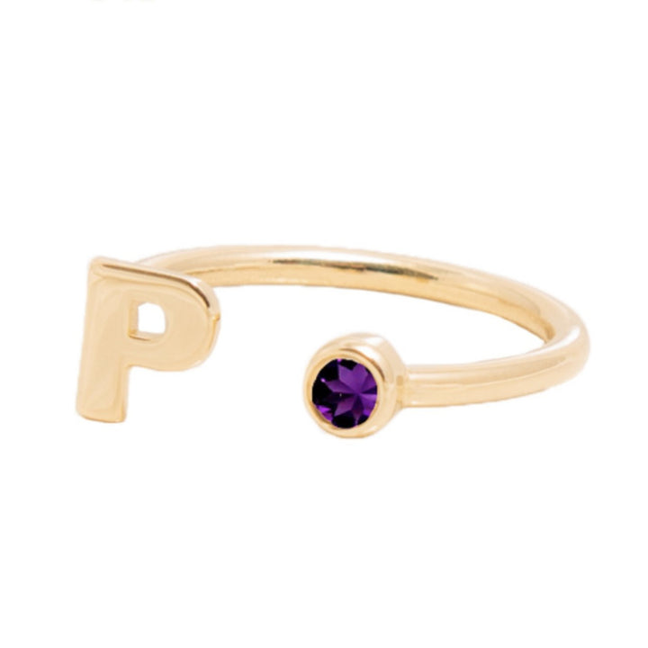 FEBRUARY BIRTHSTONE INITIALS RING - AMETHYST