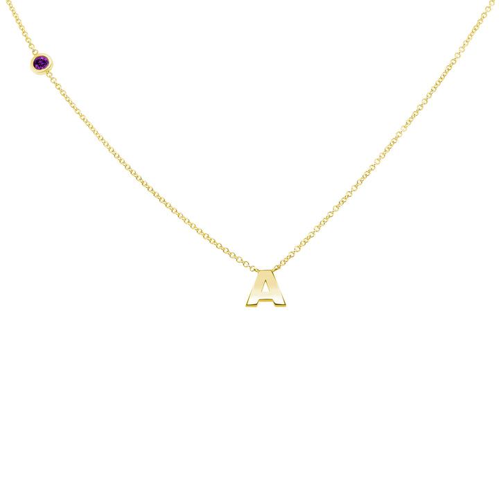 FEBRUARY BIRTHSTONE INITIALS NECKLACE - AMETHYST