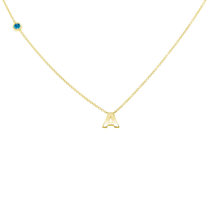 MARCH BIRTHSTONE INITIALS NECKLACE - AQUAMARINE