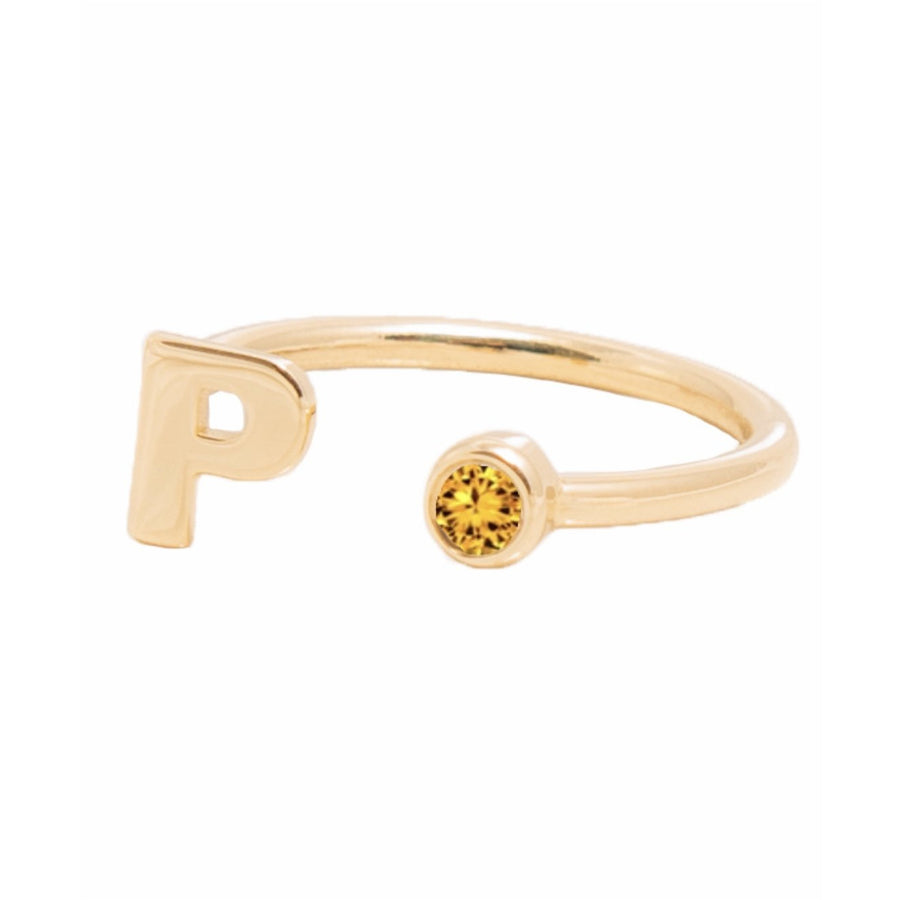 NOVEMBER BIRTHSTONE INITIALS RING - CITRINE