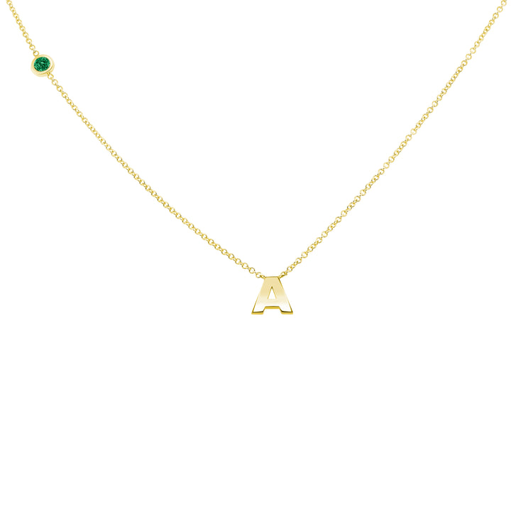 MAY BIRTHSTONE INITIALS NECKLACE - EMERALD