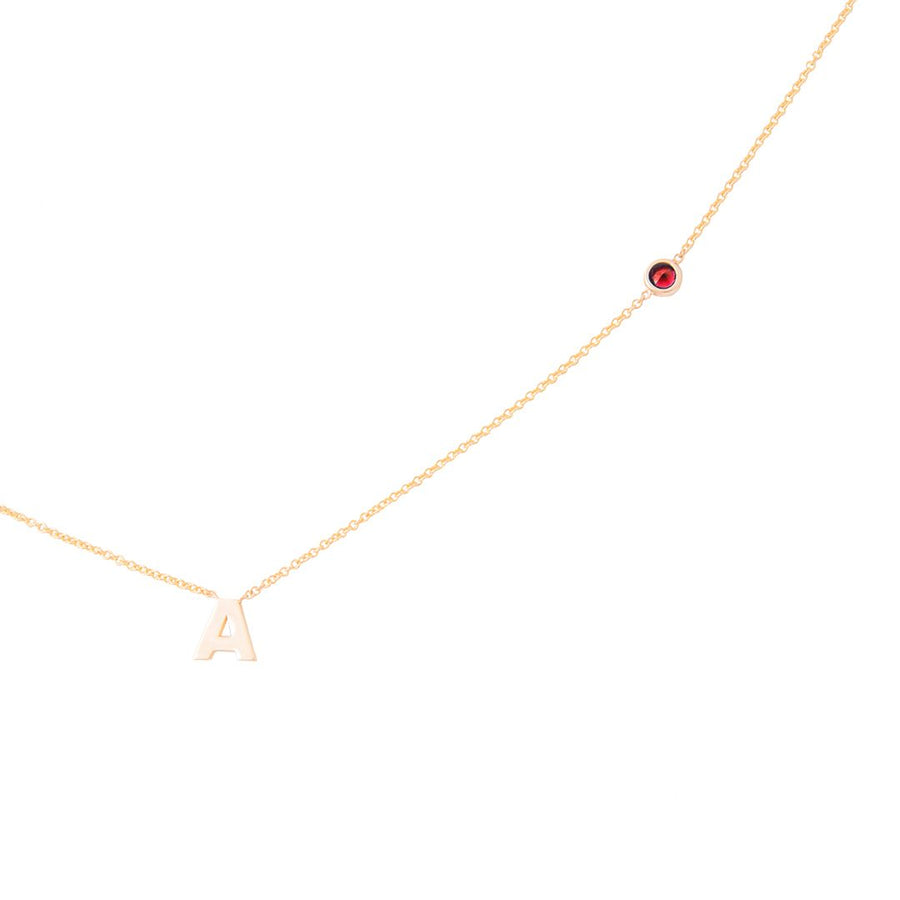 JANUARY BIRTHSTONE INITIALS NECKLACE - GARNET