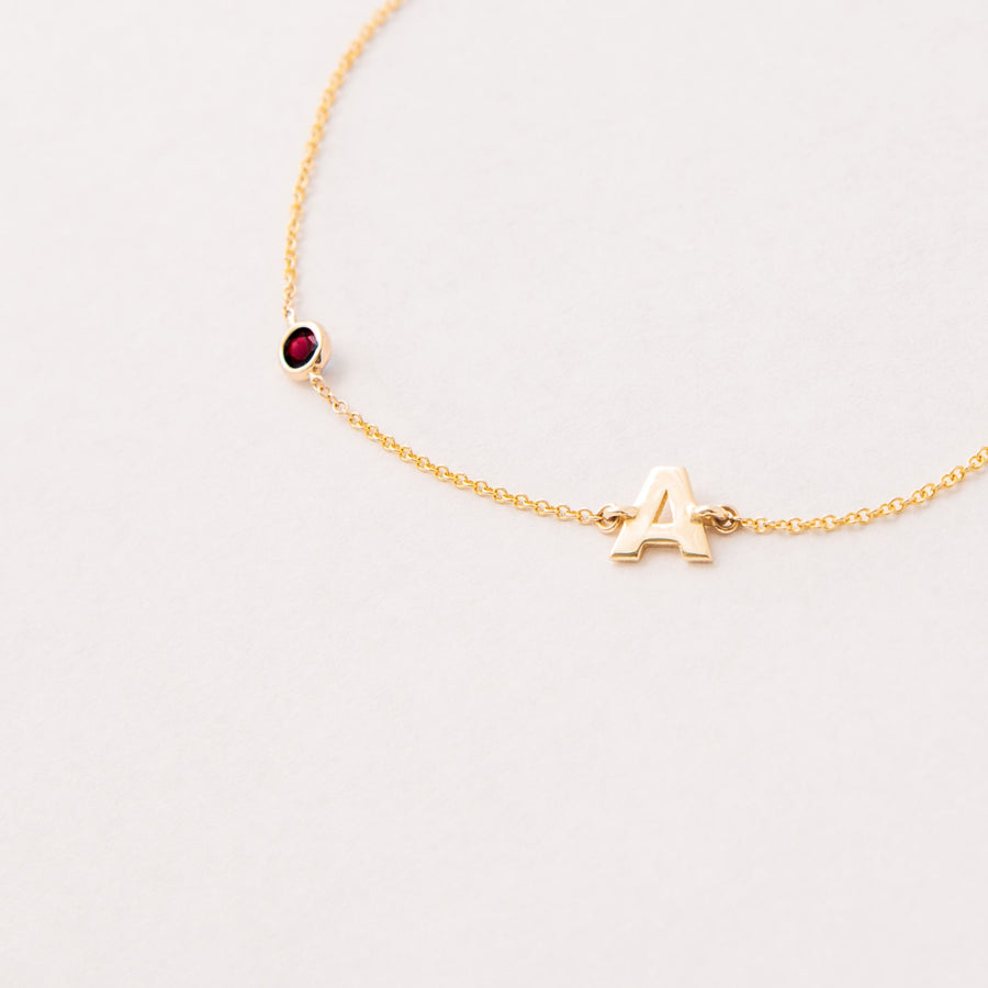 JULY BIRTHSTONE INITIALS BRACELET - RUBY
