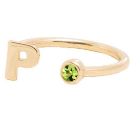 AUGUST BIRTHSTONE INITALS RING - PERIDOT