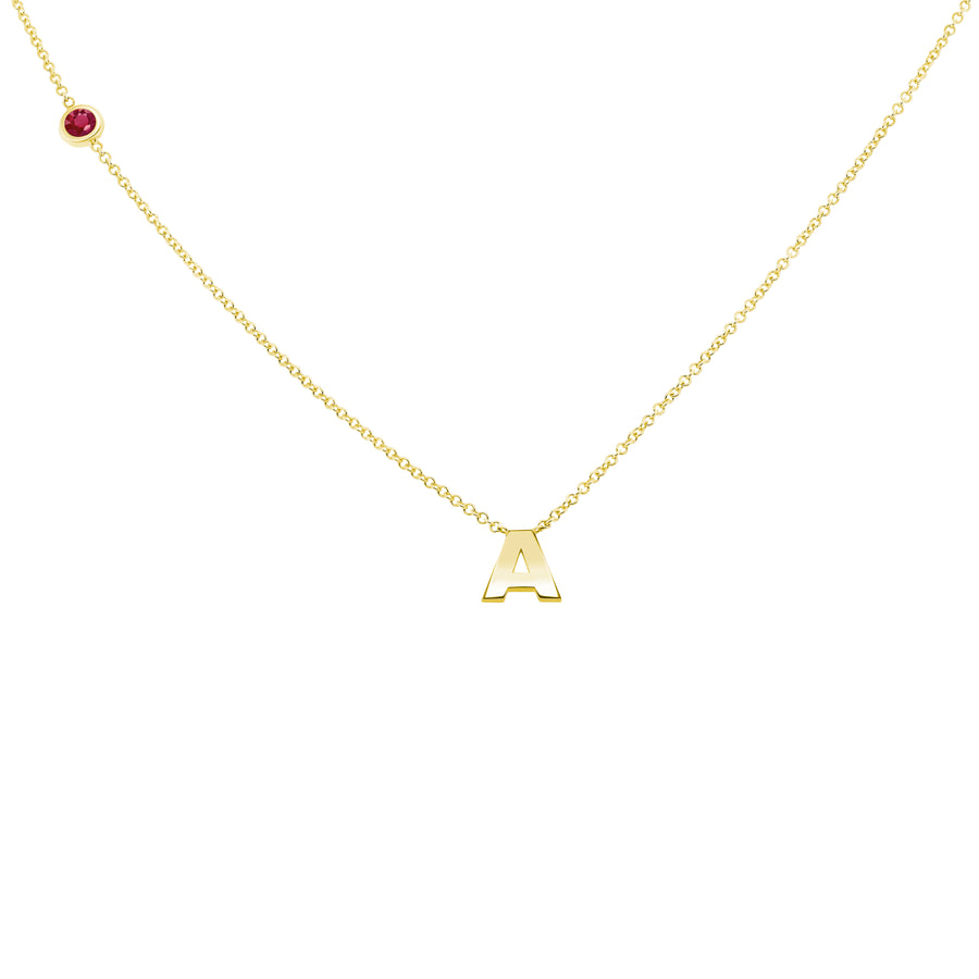 JULY BIRTHSTONE INITIALS NECKLACE - RUBY