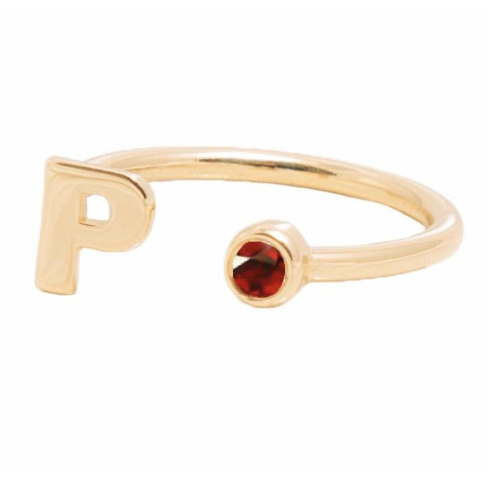 JULY BIRTHSTONE INITIALS RING - RUBY