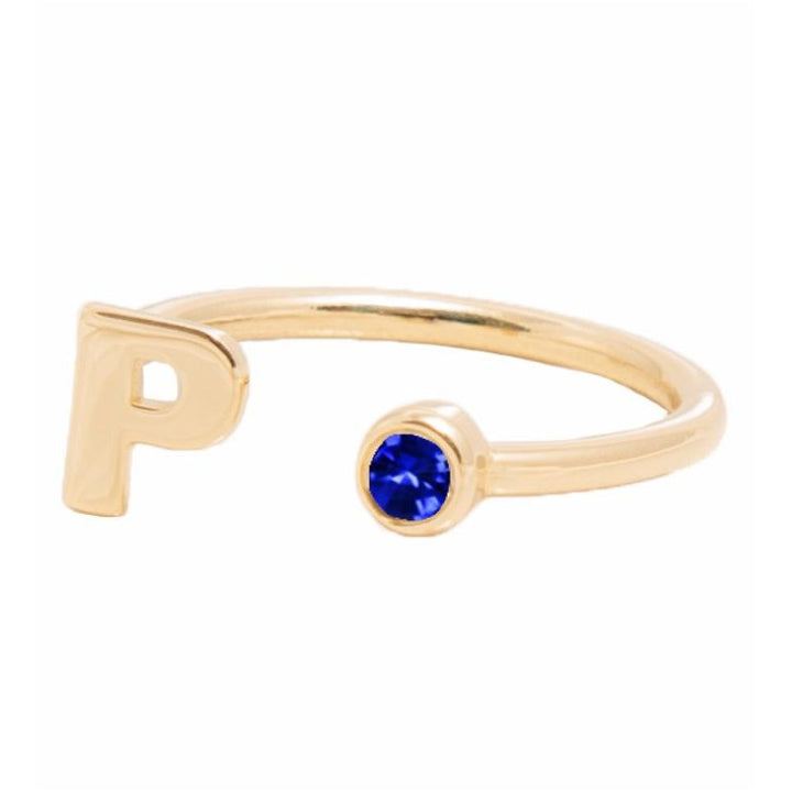 DECEMBER BIRTHSTONE INITIALS RING - TANZANITE