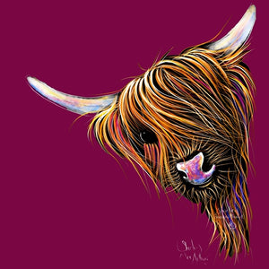 Highland Cow Prints 'Noodles Magenta' by Shirley MacArthur