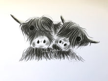 CHaRCoaL ORiGiNaLS! HiGHLaND CoW PaiNTiNGS - No 8 (PaLS)