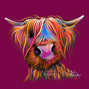 Highland Cow Wall Art 'Bruce Magenta' By Shirley MacArthur