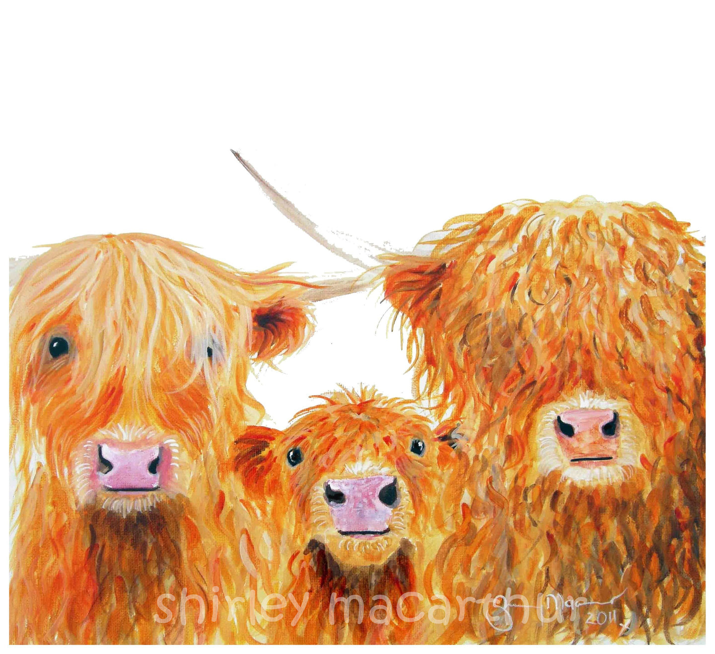 Highland Cow Prints 'We 3 Coos' by Shirley MacArthur
