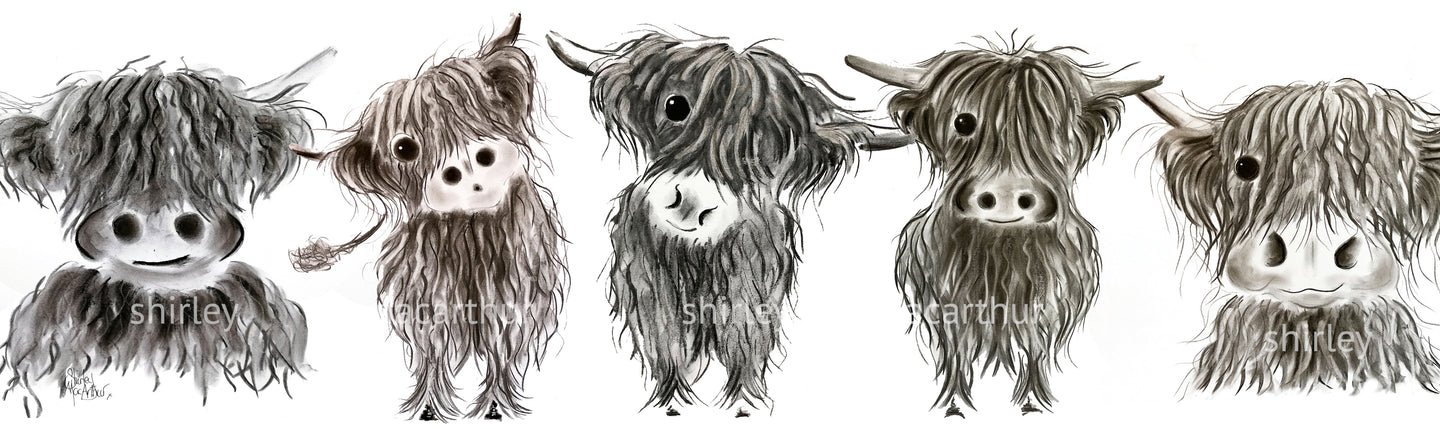 ALL iN a RoW   HiGHLaND CoW PRiNT