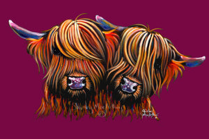 Highland Cow Prints 'Pals Magenta' by Shirley MacArthur