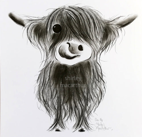CHaRCoaL ORiGiNaLS!  HiGHLaND CoW PaiNTiNG - No 14