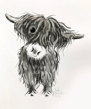 CHaRCoaL ORiGiNaLS! HiGHLaND CoW PaiNTiNGS - No 4