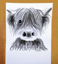 CHaRCoaL ORiGiNaLS! HiGHLaND CoW PaiNTiNGS - No 1