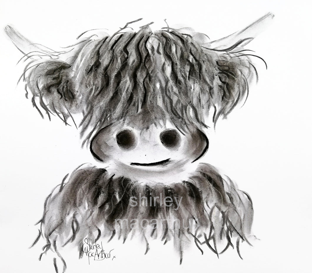 CHaRCoaL ORiGiNaLS! HiGHLaND CoW PaiNTiNGS - No 2