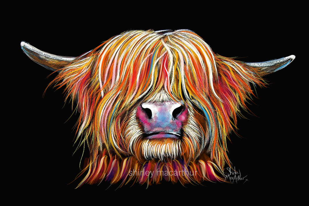 HiGHLaND CoW PRiNTS of Original Painting /'HuMPHReY oN GReY BY SHiRLeY MacARTHuR