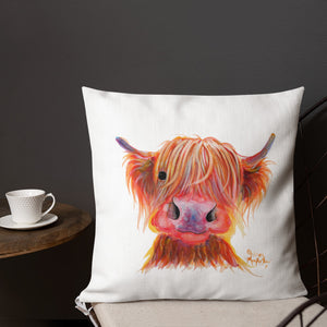 THRoW PiLLoW / CuSHioN 18 x 18 iNCH  HiGHLaND CoW ' CHiLLi CHoPS '
