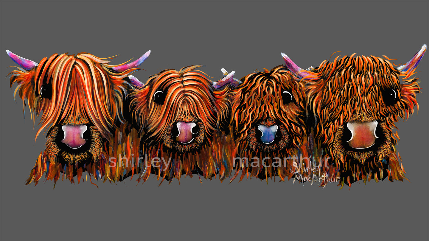 ' THe GiNGeR NuTS oN GReY ' HiGHLaND CoW PRiNT, WaLL ART - BY SHiRLeY MacARTHuR