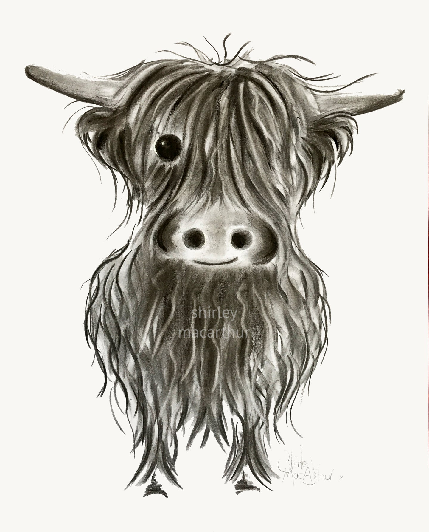 CHaRCoaL ORiGiNaLS! HiGHLaND CoW PaiNTiNGS - No 5