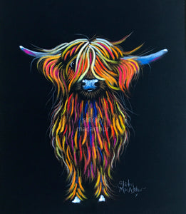 ORiGiNaL HiGHLaND CoW PaSTeL PaiNTiNG ' PeaCHeS '