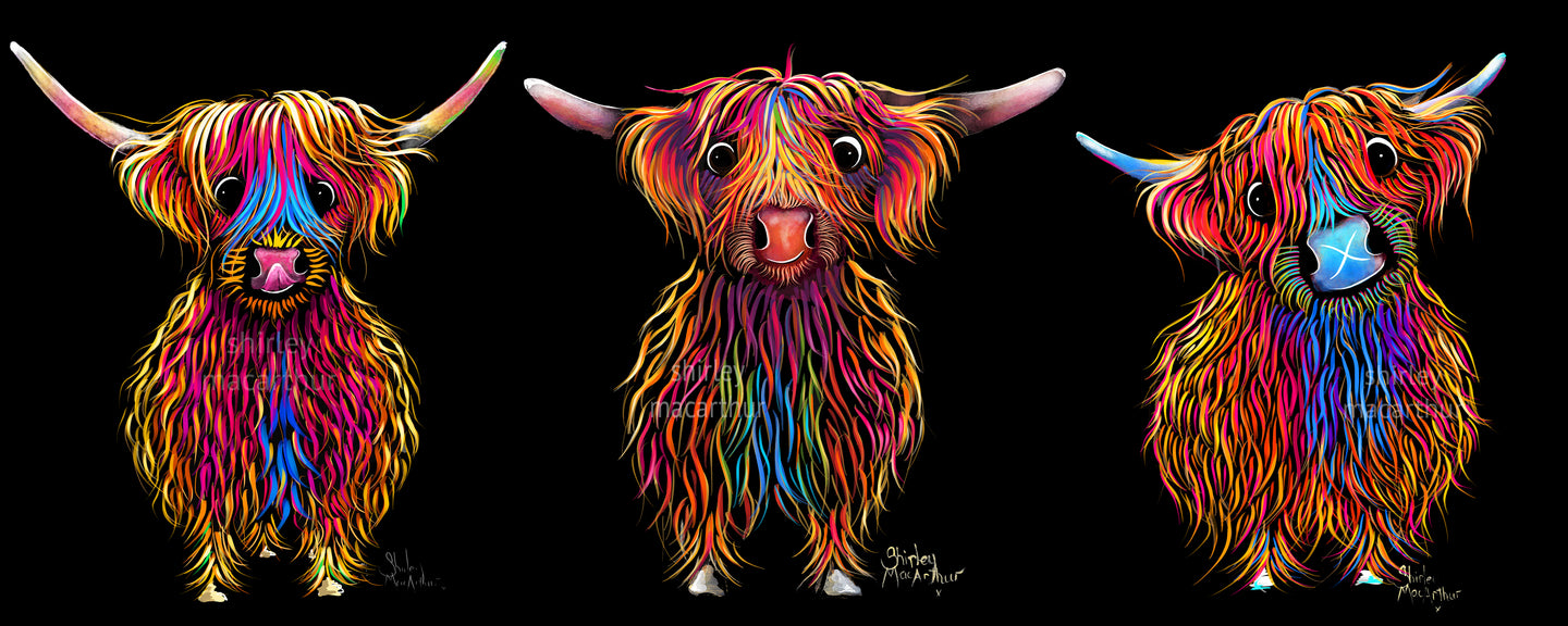 ' TeaM SCoTLaND '  HiGHLaND CoW PRiNT, WaLL ART - BY SHiRLeY MacARTHuR