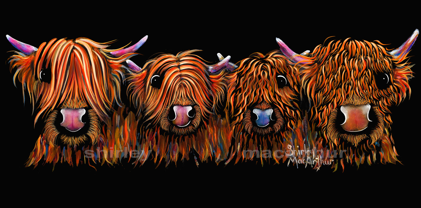 ' THe GiNGeR NuTS'  HiGHLaND CoW PRiNT 20 x 10 iNCH