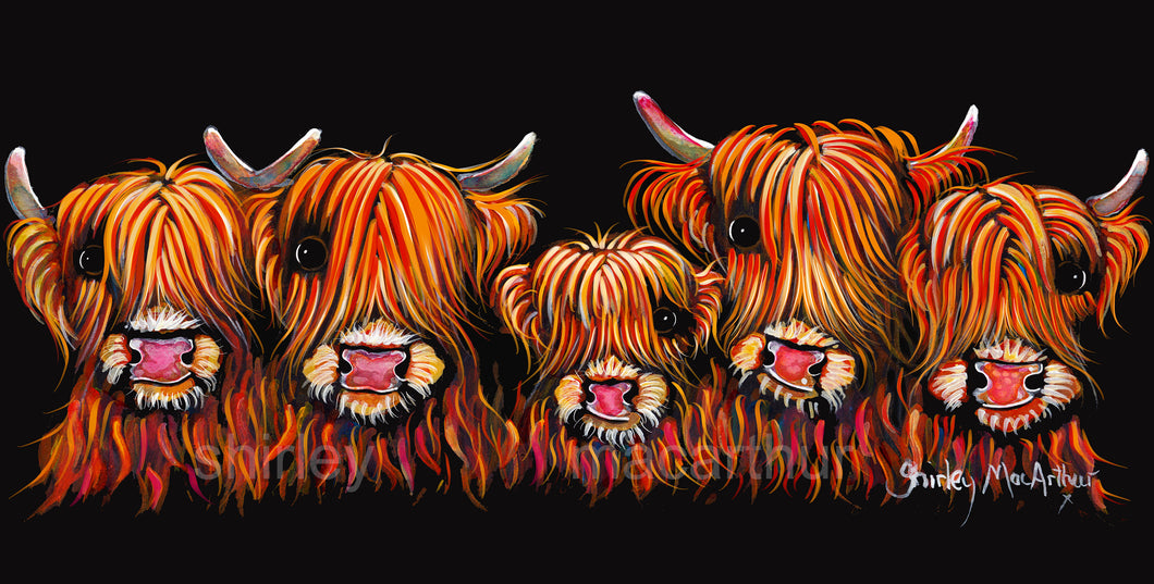 ' THe HiGHLaND FiVe '  HiGHLaND CoW PRiNT, WaLL ART - BY SHiRLeY MacARTHuR