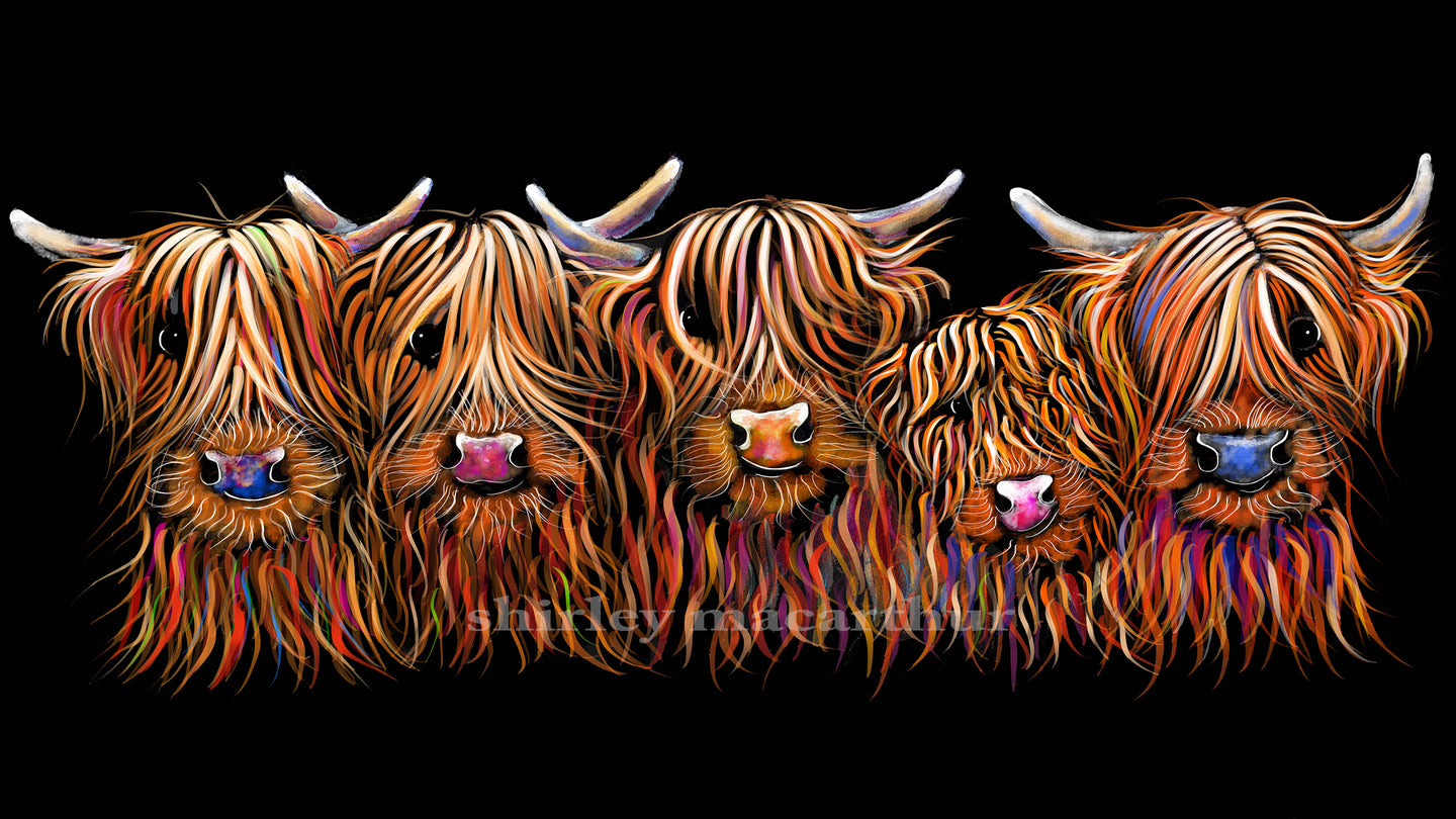 Highland Cow Prints 'The Hairy Bunch of Coos'' by Shirley MacArthur