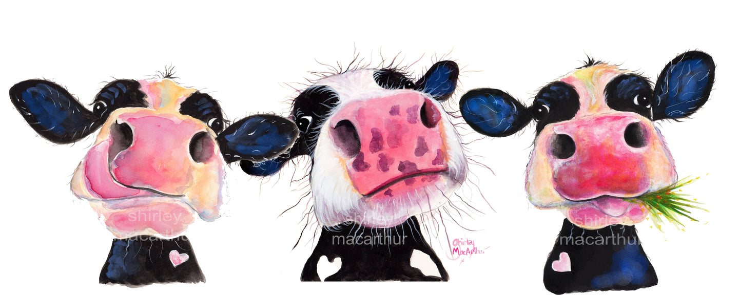 ' THe NoSeY CoWS '  NoSeY CoW PRiNT, WaLL ART - BY SHiRLeY MacARTHuR