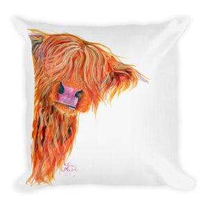 THRoW PiLLoW / CuSHioN 18 x 18 iNCH  HiGHLaND CoW ' PeeKaBoo '