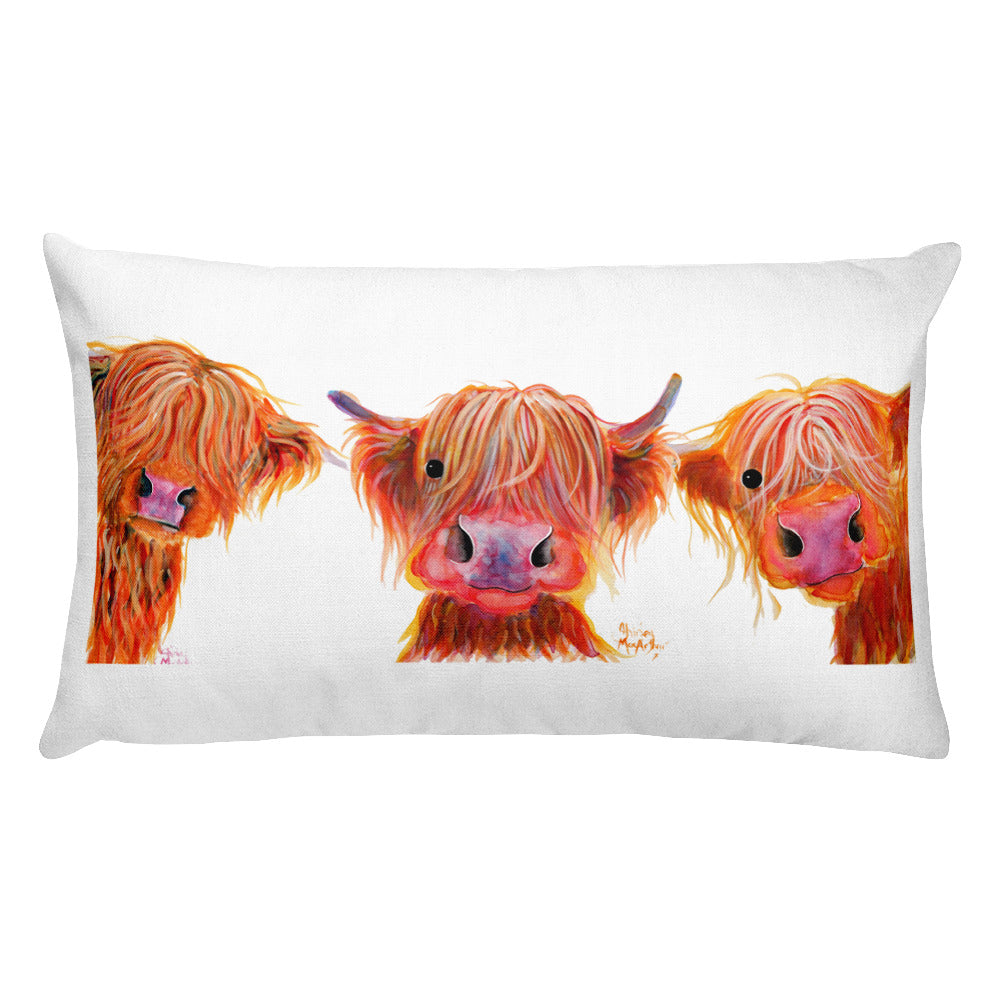 THRoW PiLLoW / CuSHioN 20 x 12 iNCH HiGHLaND CoW ' THe ORaNGeS '