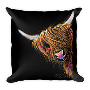 THRoW PiLLoW / CuSHioN 18 x 18 iNCH  HiGHLaND CoW ' NooDLeS '