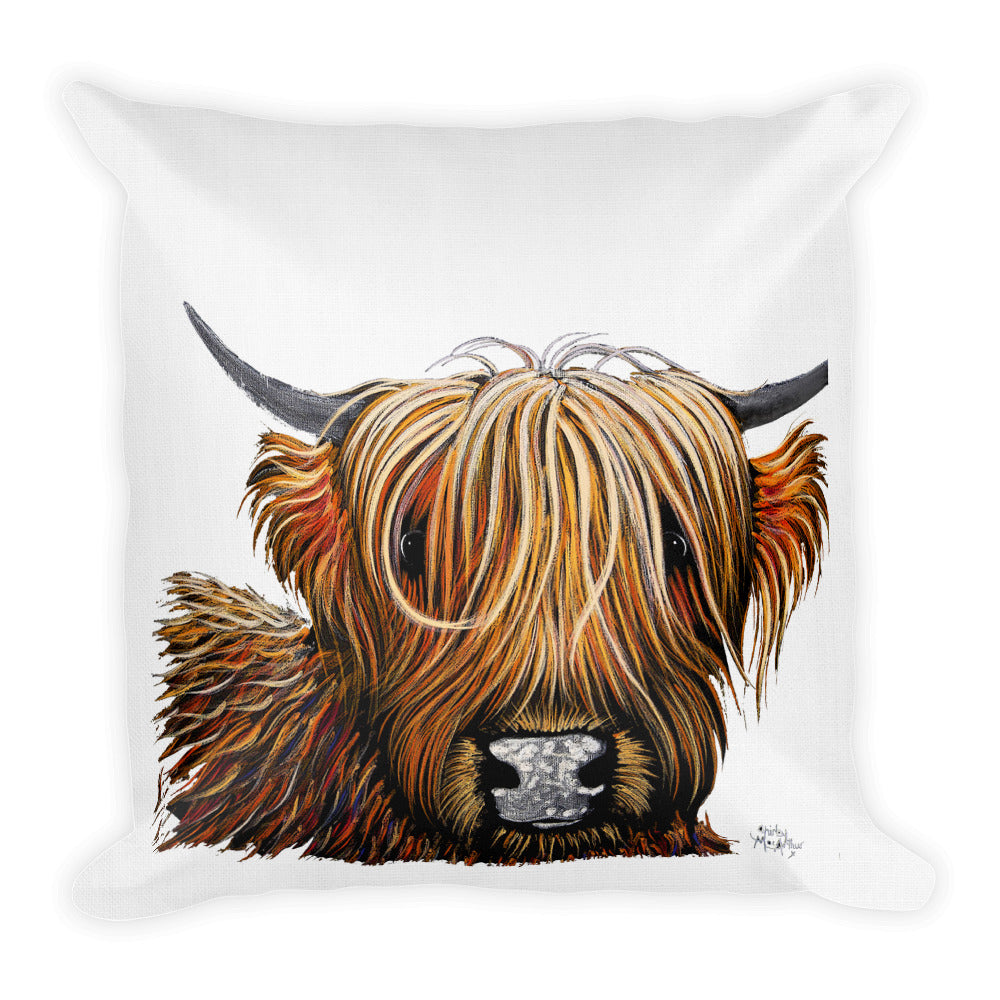 THRoW PiLLoW / CuSHioN 18 x 18 iNCH HiGHLaND CoW ' HaMiSH oN WHiTe '