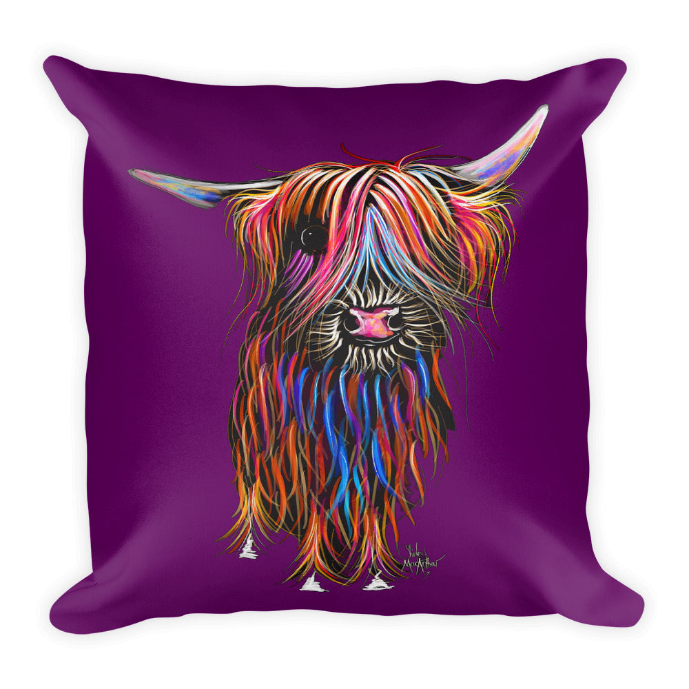 THRoW PiLLoW / CuSHioN 18 x 18 iNCH  HiGHLaND CoW ' CoCo PuRPLe '
