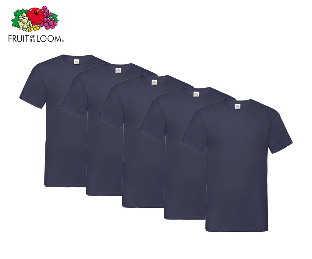 Fruit Of The Loom - V-Neck T-Shirts - 5er Set's einfarbig