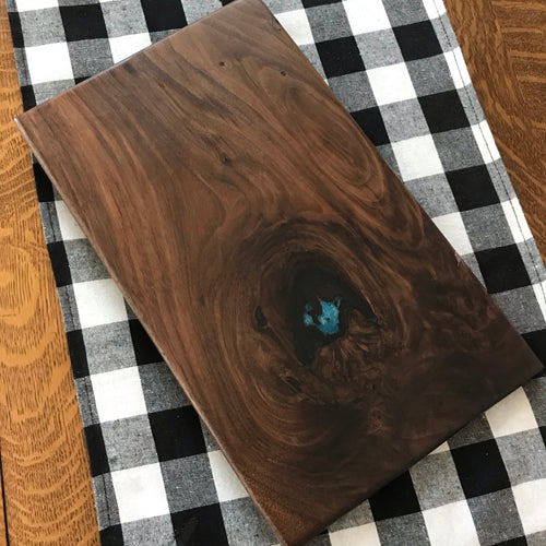 Walnut charcuterie board with epoxy inlay