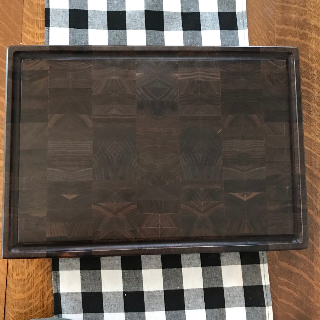 End Grain Walnut Cutting Board with Juice Groove Groove