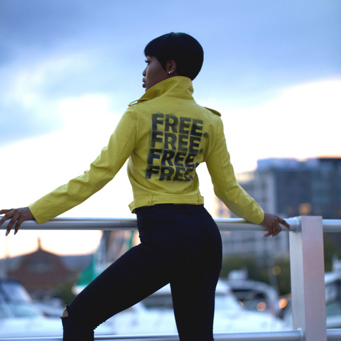 """FREE."" Yellow Vegan Leather Jacket"
