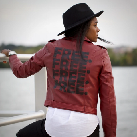 """FREE."" Red Vegan Leather Jacket"