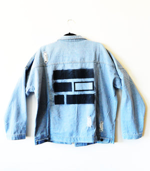 Equality Bars Distressed Custom Denim Jacket (Style 2) - in + out apparel