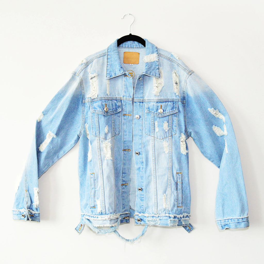 Embroidered Distressed Over-sized Denim Jacket - in + out apparel