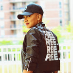 """FREE."" Black Vegan Leather Jacket"
