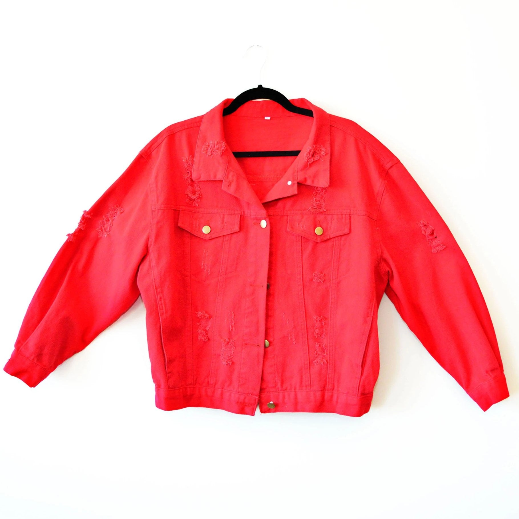 Africa Distressed Custom Denim Jacket in Red - in + out apparel