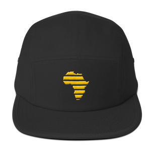 "Embroidered ""Africa"" (Gold) Five Panel Cap - in + out apparel"